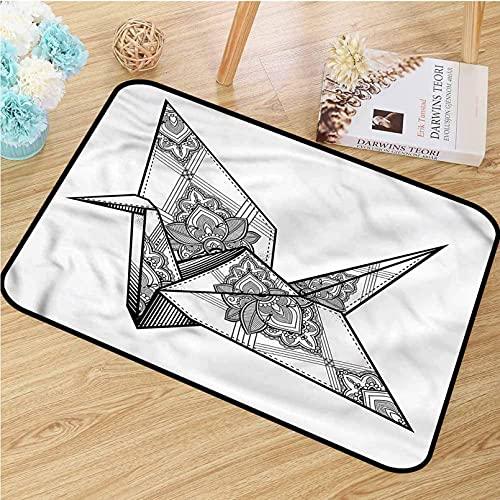 N/A Impresión De Alfombrillas Felpudo del Arte del Ornamento del Pájaro De La Grúa De Origami De La Impresión Digital del Cuarto De Baño con La Estera Regalos De Decoración Suelo para Hogar