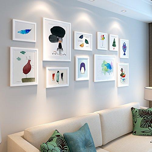 HJKY Photo Frame Wall Set De woonkamer in een restaurant in Scandinavische stijl frisse kleine slaapkamer bed ingericht is een moderne en eenvoudige creatieve muurschilderkunst combinatie geschikt voor 2-4 m muur 25 mm dikke plank alle White Combinatie