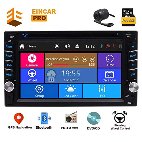 6.2 Inch 2 din Car DVD Player GPS Navigation Multi-Touchscreen Car Radio in-Dash Audio Car Stereo AM/FM RDS Bluetooth Remote Control Backup Camera Head Unit USB SD SWC 8GB Map Card
