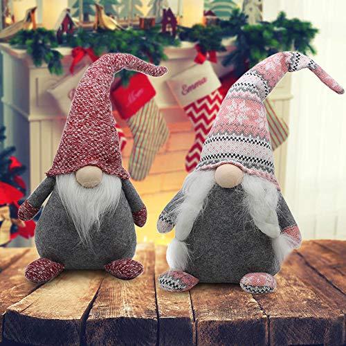 "FANN 18"" Christmas Gnomes Plush Tomte Doll Set of 2, Swedish Scandinavian Plush Nisse Ornaments, Dwarf Doll Plush Figurines,Nordic Plush Santa for Home Tabletop Decoration"