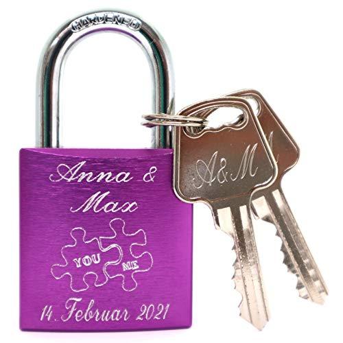 Liebesschloss lila mit Gravur und 2 Schlüssel Blitzversand