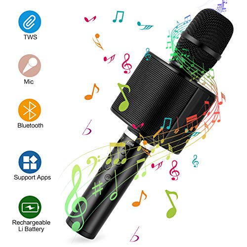 Karaoke Microphone for Kids, Mbuynow Wireless Microphone Bluetooth 4.2 with Speaker Loud, Phone Holder/Selfie Stick, TWS Connectable Another Microphone for Singing Together in Home Christmas Party