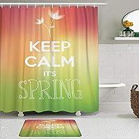 MIMUTI シャワーカーテン バスマット 2点セット ブロッサムグリーンオーラ落ち着いて春ピンクブルーミング 自家 寮用 ホテル 間仕切り 浴室 バスルーム 風呂カーテン 足ふきマット 遮光 防水 おしゃれ 12個リング付き