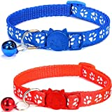 ZACAL 2 x Cat Collars with Bell Safe Quick Release Buckle | Adjustable to Fit All Domestic Cats | PACK OF 2 (RED & BLUE)