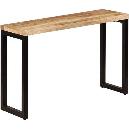 vidaxl bois de manguier massif et acier table console table de bout mobilier