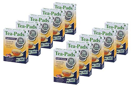 10 Packungen mit je 20 Tea Pads Schwarztee English Breakfast für Pad und Siebträgermaschinen von Tea Friends