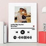 Cuadros Decoracion Dormitorios Personalizados con Codigo Cancion Spotify Lienzos Decorativos Salon con Foto Personalizada 30x40cm