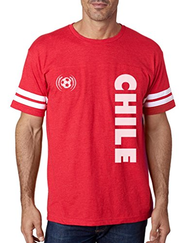 TeeStars - Chile National Soccer Team Football Fans Football Jersey T-Shirt Large red/White