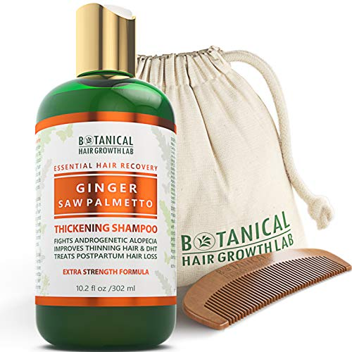 BOTANICAL HAIR GROWTH LAB - Hair Thickening Shampoo - Ginger Saw Palmetto - Essential Hair Recovery - Anti-Inflammatory / Extra Strength - For Hair Loss Alopecia Postpartum DHT Blocker - 10.2 Oz