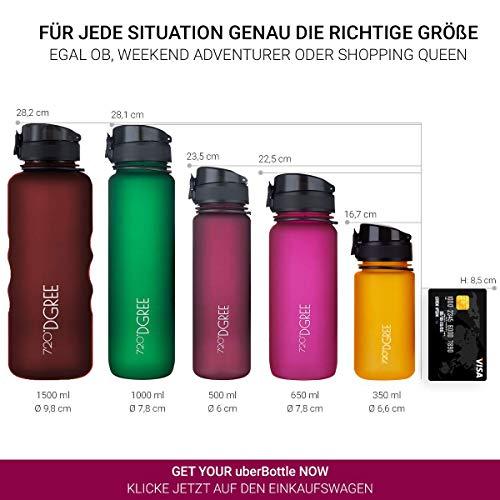 """720°DGREE Trinkflasche """"uberBottle"""" - 1 Liter, 1000ml, Pflaume - Neuartige Tritan Wasser-Flasche - Water Bottle BPA Frei - Ideale Sportflasche für Kinder, Fitness, Fahrrad, Sport, Fussball - 4"""