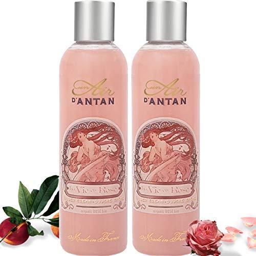 Un Air d'Antan 2er Set – Vintage Duschgel Rose - Parfum: Rose, Pfirsich, Patschuli. Intensiv Pflegend und Effektiv Reinigend – Für Sie oder als Geschenke - Geburtstag (2x250ml)