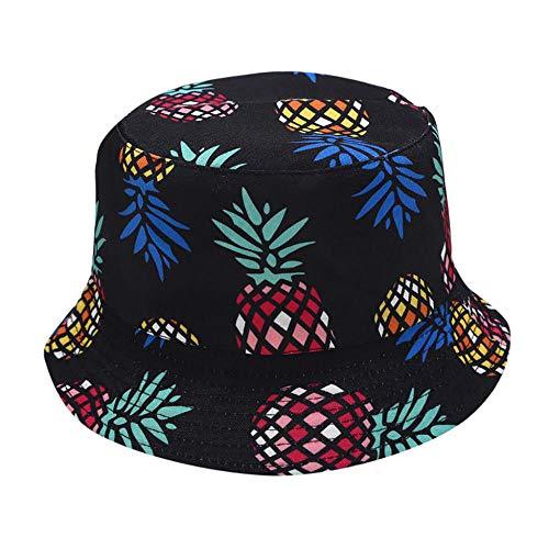 ZHENQIUFA Sombrero Pescador Gorras Sombrero De Cubo Sombrero De Cubo De Doble Cara Estampado De Fruta De Plátano Gorra De Moda Unisex Hip Hop Hombres Gorra De Playa para Adultos-Multi