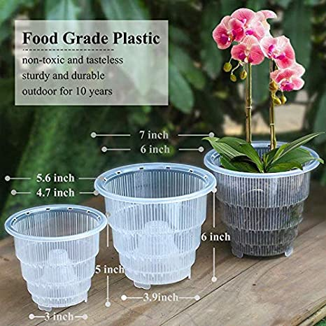 maison Small jardin KongLyle Pot /à orchid/ée en plastique transparent avec trous creux et respirant pour jardinage