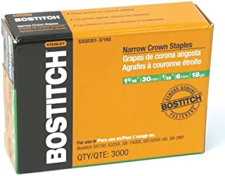 BOSTITCH SX50351-3/16G 1-3/16-Inch by 18 Gauge by 7/32-Inch Crown Finish Staple (3,000 per Box)