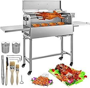 VBENLEM BBQ Charcoal Grill 25W Heavy Duty Charcoal Barbeque Grill Stainless Removable 4 RPM Equipped with Lid and Temperature Gauge Portable for Camping