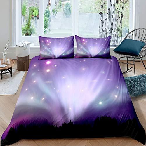 Ombre Effects - Juego de ropa de cama y lino moderno con purpurina colorida para niños y niñas, funda de edredón de microfibra, funda de edredón de microfibra, color morado