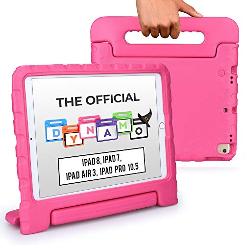 Official Cooper Dynamo [Rugged Kids Case] for 2020/2019 10.2 iPad (8th & 7th Gen), iPad Pro 10.5, iPad Air 3   Protective Foam Cover with Handle (Pink)