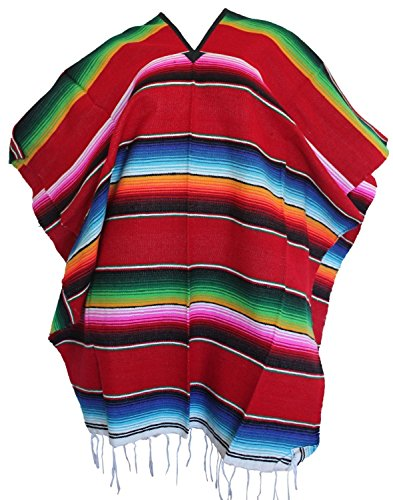 Mexican Serape Poncho Pancho Adult Costume Red000231
