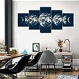 ARIE 5 Piezas Cuadro Fases De La Luna En Azul 5 Piezas Impresión En Lienzo Tablero del Moderno Cuadro De Pintura Póster De Arte Sala De Decoración Hogareña