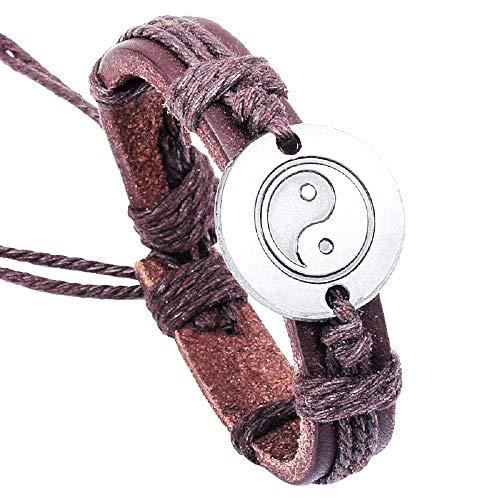 Heren armband - heren - tao - yin yang - verstelbaar - armband - leer - kunstleer - bruin - kerst - origineel cadeau idee