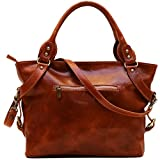 Floto Olive (Honey) Brown Taormina Bag in Italian Calfskin Leather - handbag, shoulder bag, hobo