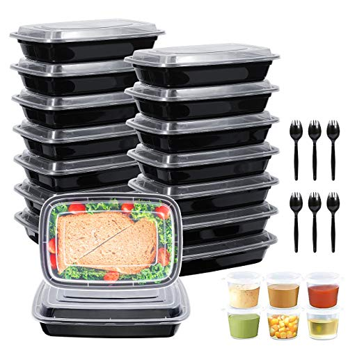 【16PACK】Recipientes para preparación de comidas de con tapas, fiambrera reutilizable sin BPA, compatible con microondas / lavavajillas / congelador, apilable + 6 tazas de salsa y 6 cucharas