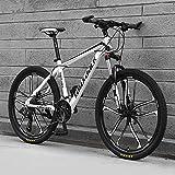 Bicicleta De Montaña, Bici De Montaña Completa De La Suspensión, Adulto 26' Bicicleta De Acero Marco, 21/24/27/30 Velocidad Completo Bicicleta Dual Disco Freno MTB,D,27 Speed