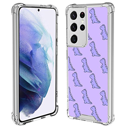 SAKUULO Clear Case Compatible with Samsung Galaxy S21 Ultra 5G 2021, Cute Dinosaur Soft TPU Bumper [Anti-Yellowing] [Anti-Scratch] Shockproof Protective Cover Case for Galaxy S21 Ultra