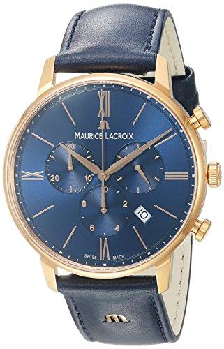 Maurice Lacroix Herren Chronograph Quarz Uhr mit Leder Armband EL1098-PVP01-411-1