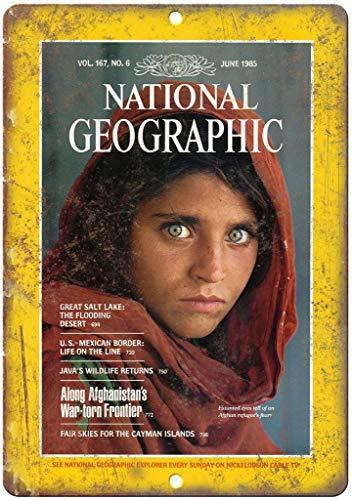 National Geographic Placa de metal para chica afgana de hierro vintage retro de advertencia de pared para bar cafetería, tienda de casa, garaje, oficina