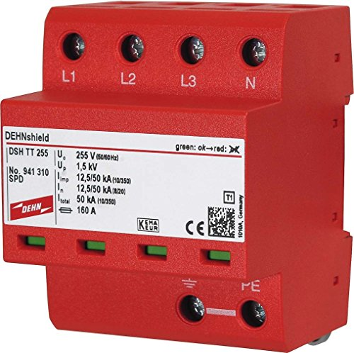 DEHN DSH TT 255 - Spannungsschutz (Terminal, 230-400 V, 50-60 Hz, 50000 A, 0,1 m, Rot)