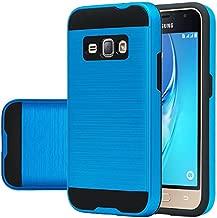 Galaxy Luna, Galaxy Express 3 Case, Galaxy Amp 2 Case, J1 2016 Case [Shock / Impact Resistant] Hybrid Dual Layer Armor Defender Protective Case Cover for Galaxy Luna / Galaxy Express 3, Brush Blue