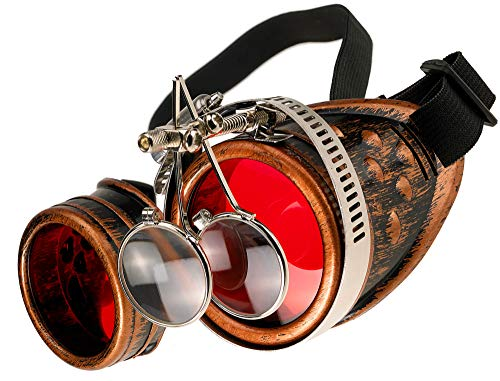 MFAZ Morefaz Ltd Welding Cyber Goggles Steampunk Goth Cosplay Sunglasses 50s Round Glasses Party Fancy Dress (Copper Loupe) steampunk buy now online