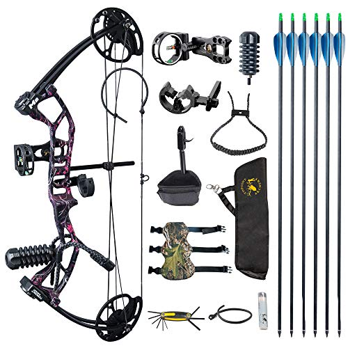 TOPOINT ARCHERY M2 Junior Compound Bow Set Beginners,Youth&Kids Bow Women Bow 17'-27' Draw Length,10-40Lbs Draw Weight,290fps IBO, Limbs Made in USA,Bow Only 2.54lbs,Lightweight Design (Muddy Girl)
