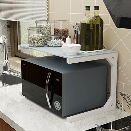 Dongyd Support de four à micro-ondes à 2 niveaux avec support d'armoire de cuisine et organisateur d'étagère de comptoir, mode en verre trempé, 6 couleurs, grandes et petites tailles en option