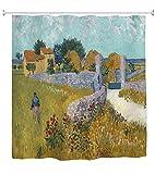 A.Monamour Duschvorhänge Bauernhaus In Der Provence Von Vincent Van Gogh Ölgemälde Kunstdruck Wasserdicht Schimmelresistent Stoff Bad Vorhang Duschvorhang Mit Haken Ringe 150X180 cm / 60