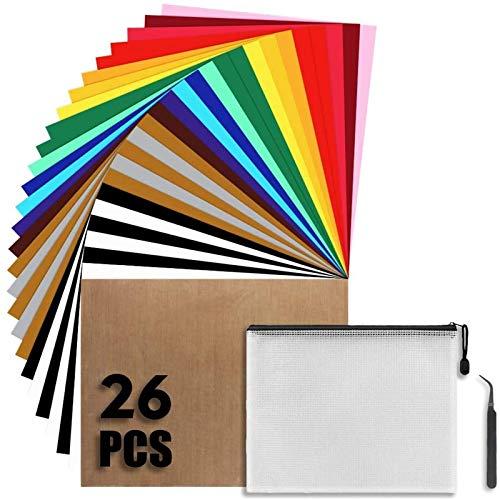26 láminas de vinilo de transferencia de calor, 12 x 10 pulgadas, 17 colores, para planchar camisetas, carpeta de documentos con cremallera y herramientas de expulsión