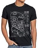 style3 Mega 16-bit Controlador Fotocalco Azul Camiseta para Hombre T-Shirt videoconsola Sonic, Talla:M, Color:Negro