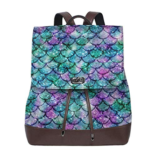 Flyup Women's Leather Backpack Purple And Green Sequined Fish Scales Laptop Bag Fashion Casual Daypack Travel Shoulder Bag For Mens