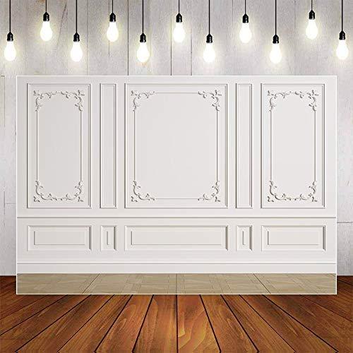 Fondo de fotografía Blanco Negro Pared Interior de la habitación Luz Retrato de bebé Fotografía de Boda Fondo de Pared Estudio fotográfico A9 7x5ft / 2.1x1.5m