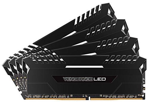 Corsair Vengeance LED - Kit de Memoria Entusiasta de 64 GB (4 x 16 GB, DDR4, 2666 MHz, C16, XMP 2.0) Negro con Blanco LED iluminación