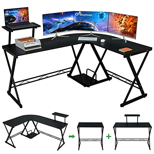 """GreenForest L Shaped Desk 64"""" Large Size Reversible Corner Computer Desk with Movable Shelf and CPU Stand, Gaming Desk with Sturdy X Leg Space Saving Home Office Workstation Table, Black"""