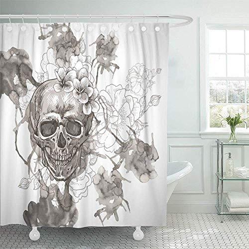 LIU&BAG Duschvorhang, wasserdicht, bunt, Tattoo, abstrakt, mit Totenkopf-Flügeln und Blumen, Rose, Zucker, Pirat, Mexiko, Heimdekoration, Polyester-Stoff, verstellbare Haken Set