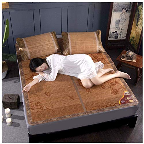 Doppelseitige Sitze Bambusmatte Ökologische Wassermühle Mat Carbonized Folding Edging Bambus Rebe Doppelseitige Matte Zähler Rattanhintergrund (Farbe:, Größe: 1.8 * 2 M-Bett) / A / 0.9 * 2 m bed