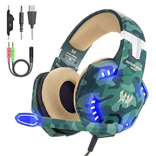 VersionTECH. Cuffie da gaming cablate con microfono, jack da 3,5mm, riduzione del rumore, bassi aumentati e controllo del volume per PS4, Xbox One, Nintendo Switch, Computer e Smartphone(Verde)