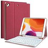 COO iPad 第8世代 キーボード ケース iPad 10.2 キーボード ケース 第7世代 [ペンシルホルダー付き] [2020/2019モデル] Bluetooth キーボードカバー 脱着式 多角度調整 傷つけ防止 耐久性 [ iPad 8/iPad 10.2/iPad Air3/Pro 10.5と一緒に使用可能] (レード)