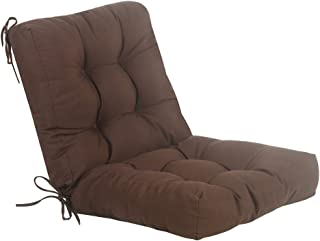 QILLOWAY Outdoor Seat/Back Chair Cushion Tufted Pillow, Spring/Summer Seasonal Replacement Cushions. (Coffee)
