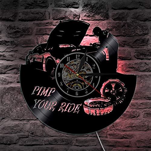 Reloj de pared de vinilo para reparación de coche con ruedas de cuarzo para coche, decoración del hogar, reparación y regalo de luces LED