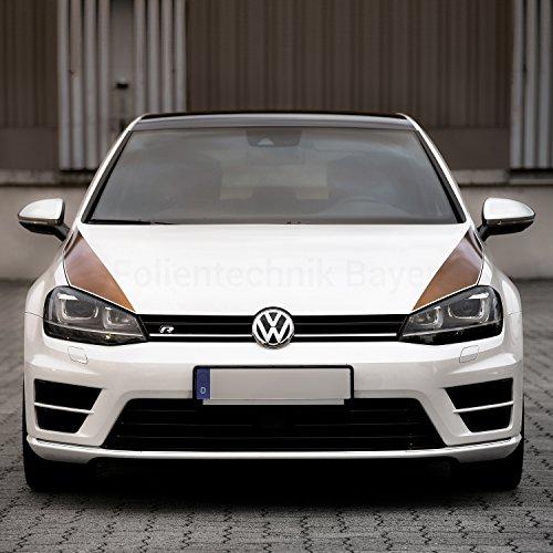 Folientechnik Bayer 1005 Motorhaubenstreifen kompatibel mit Volkswagen Golf 7 GTI R GTE GTD (Schwarz)
