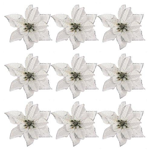 Gosear 24 pz Natale Glitter Artificiale Fiori Ornamenti Decorazioni Per Natale Albero Corone Partito Matrimonio Argento